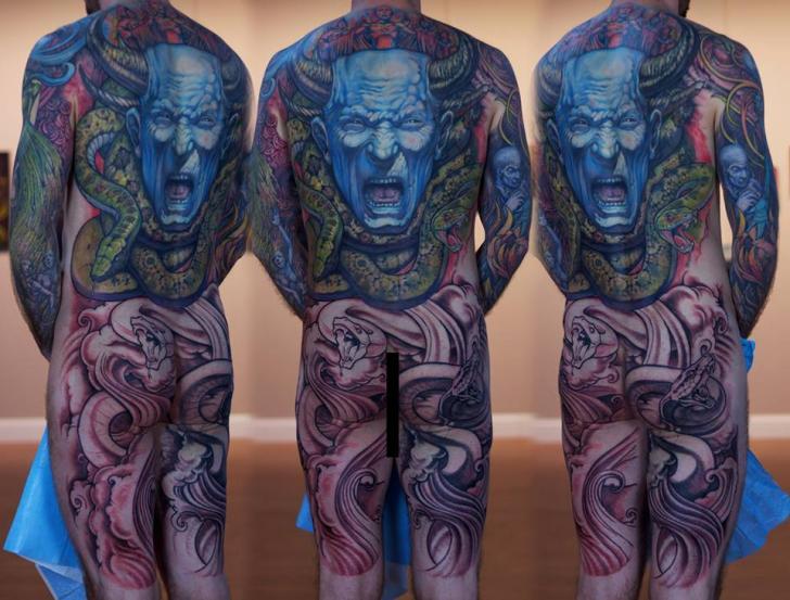 Fantasie Schlangen Bein Rücken Drachen Po Körper Tattoo von Graven Image