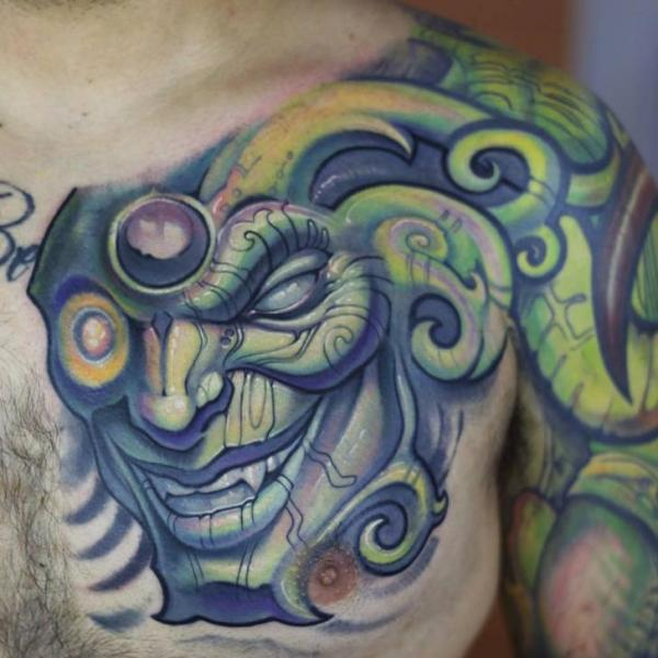Shoulder Biomechanical Fantasy Chest Tattoo by Graven Image