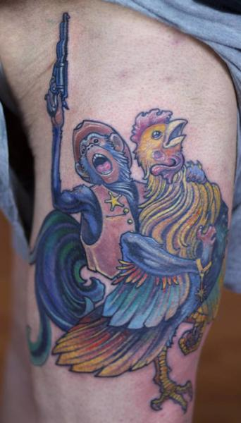 Fantasy Monkey Rooster Tattoo by Graven Image