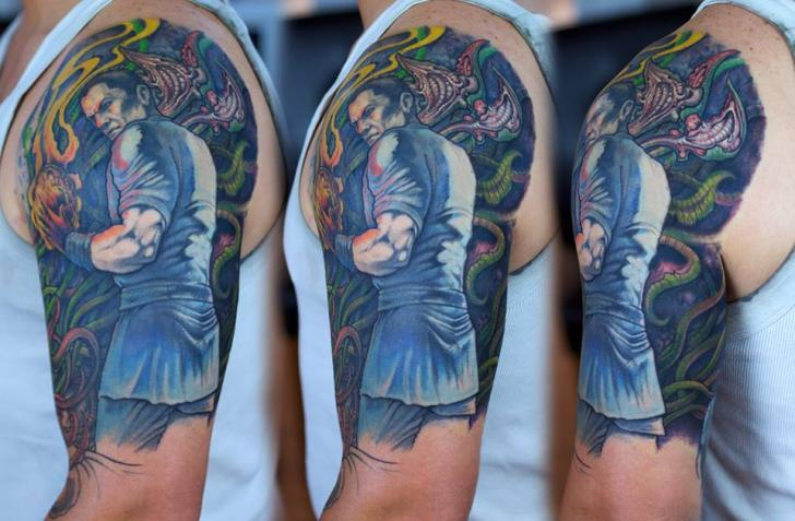 Shoulder Fantasy Flame Men Tattoo by Graven Image