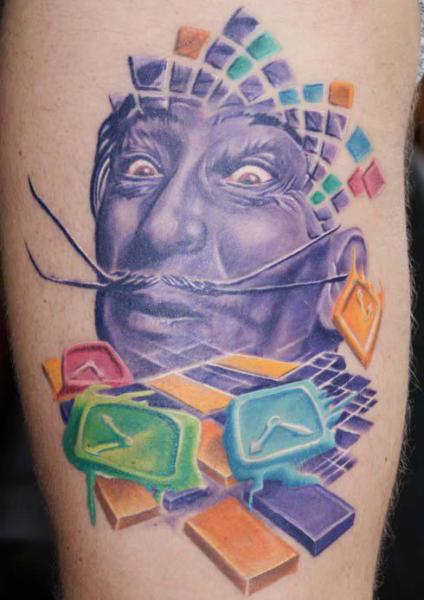 Arm Portrait Clock Salvador Dali Tattoo by Tattoos by Mini