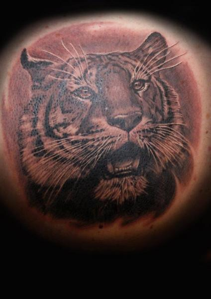 Shoulder Realistic Tiger Tattoo by Tattoos by Mini