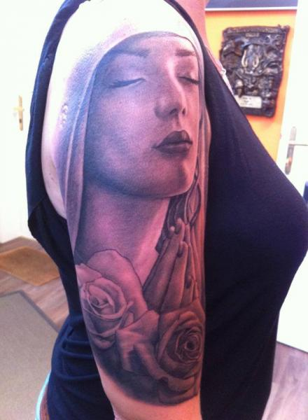 Shoulder Flower Religious Tattoo by Tattoos by Mini