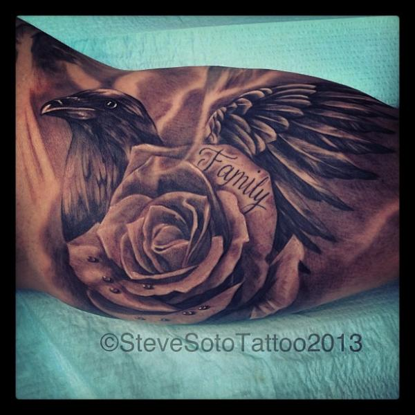 Realistic Flower Crow Tattoo by Steve Soto