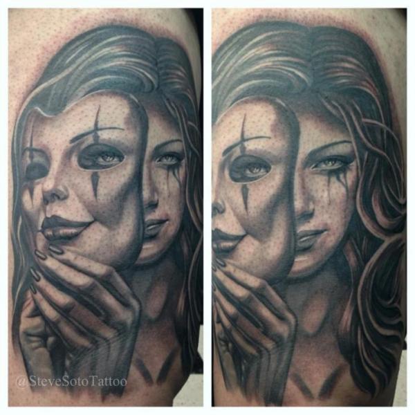 Arm Portrait Women Mask Tattoo by Steve Soto