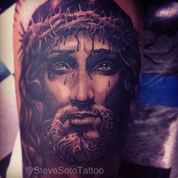 Arm Jesus Religious Religious Tattoo by Steve Soto