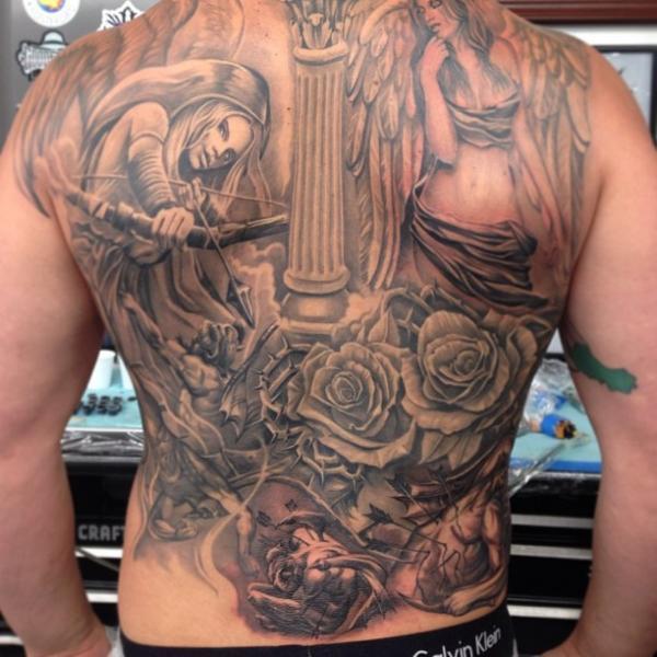 Fantasy Flower Back Angel Tattoo by Steve Soto