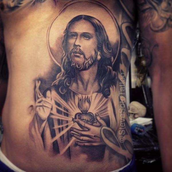 Side Jesus Religious Belly Tattoo by Steve Soto