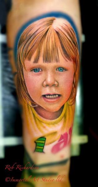 Arm Portrait Children Tattoo by Rob Richardson