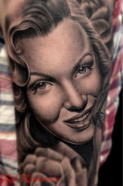 Arm Realistische Marilyn Monroe Tattoo von Rob Richardson