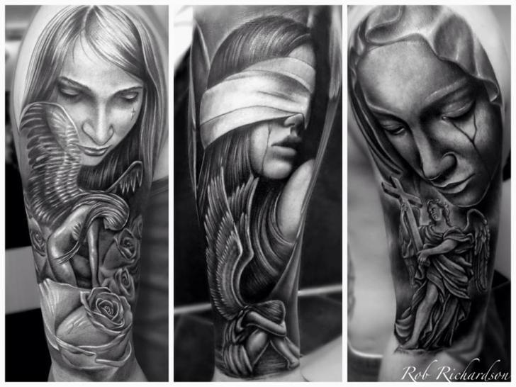 Tatuaje Brazo Ángel Ciego Religioso por Rob Richardson