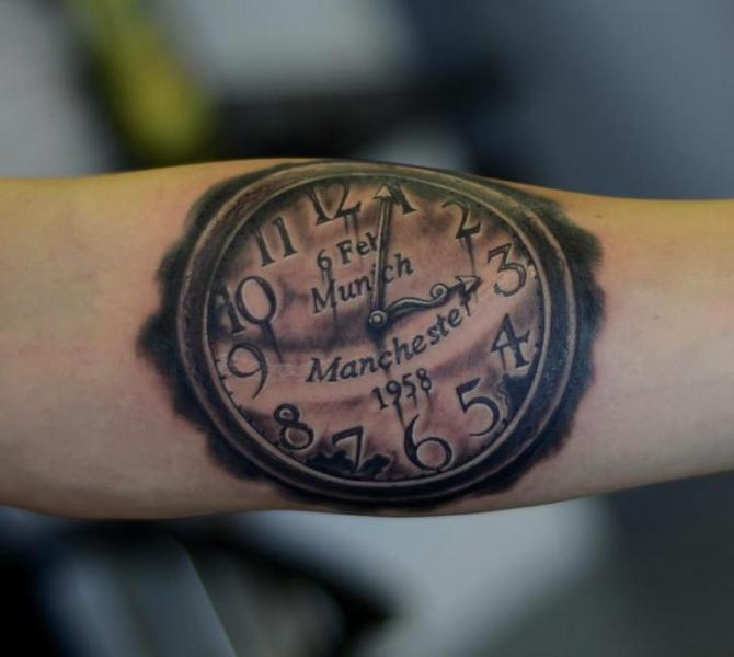 Arm Realistic Clock Tattoo by Colin Jones