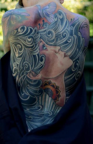 Japanese Women Back Tattoo by Colin Jones