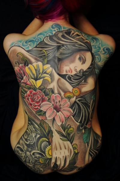 Portrait Women Back Tattoo by Colin Jones