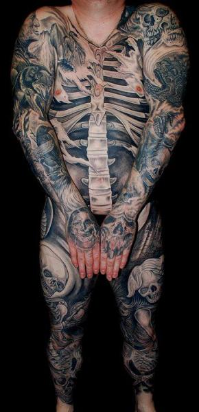 Arm Chest Leg Hand Belly Body Skeleton Tattoo by Colin Jones