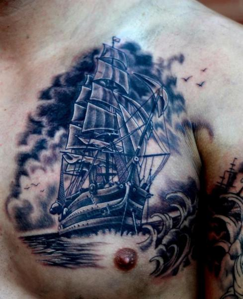 Realistic Chest Galleon Tattoo by Colin Jones
