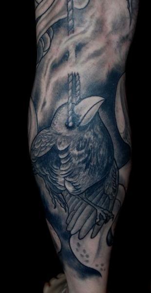 Fantasy Leg Bird Tattoo by Colin Jones