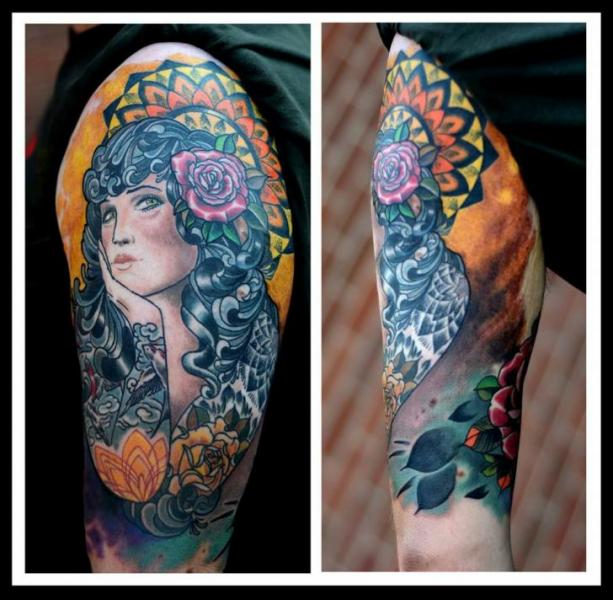 Shoulder Gypsy Tattoo by Colin Jones