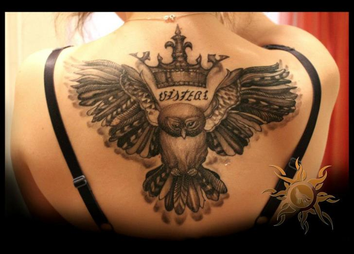 Back Owl Crown Tattoo by Ramas Tattoo