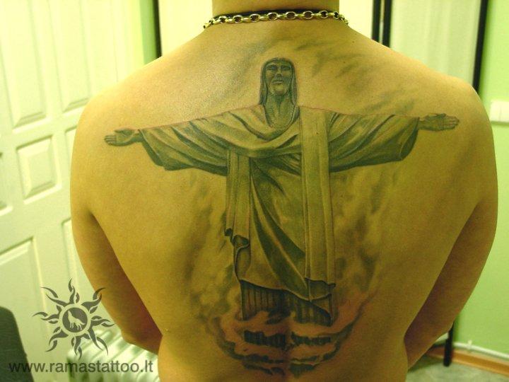Back Jesus Religious Tattoo by Ramas Tattoo