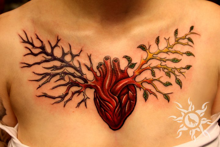 Heart Breast Tree Tattoo by Ramas Tattoo