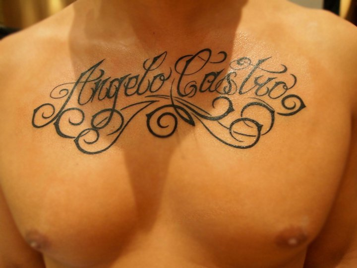 Chest Lettering Tattoo by Ramas Tattoo