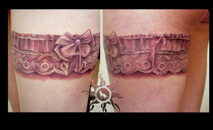Realistic Leg Garter Lace Tattoo by Ramas Tattoo
