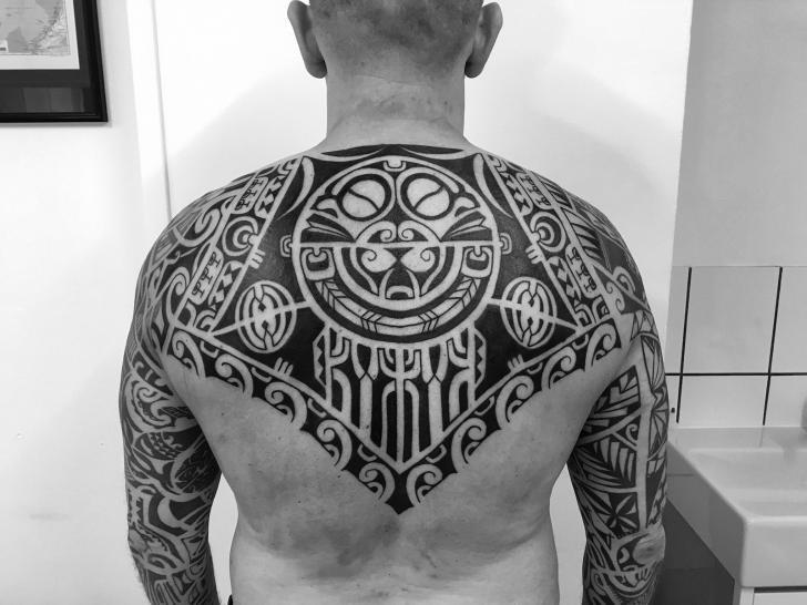 Back Tribal Maori Tattoo by C-Jay Tattoo