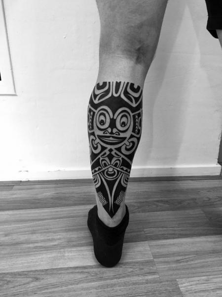 Calf Tribal Maori Tattoo by C-Jay Tattoo