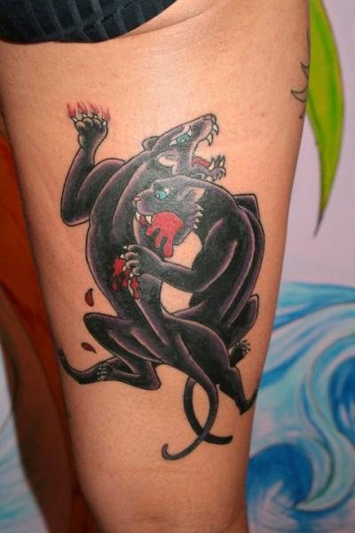 Old School Bein Panther Tattoo von C-Jay Tattoo