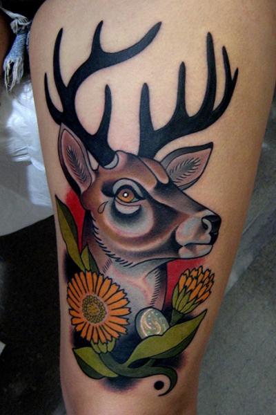 Arm Old School Deer Tattoo by Montalvo Tattoos