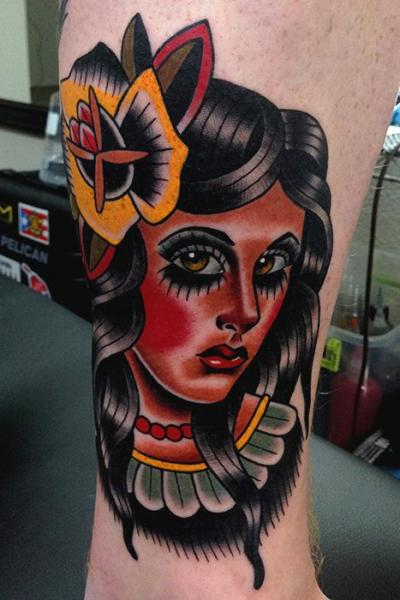 Arm Old School Indian Tattoo by Montalvo Tattoos