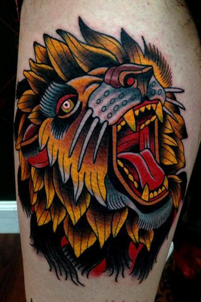 Arm Old School Lion Tattoo by Montalvo Tattoos