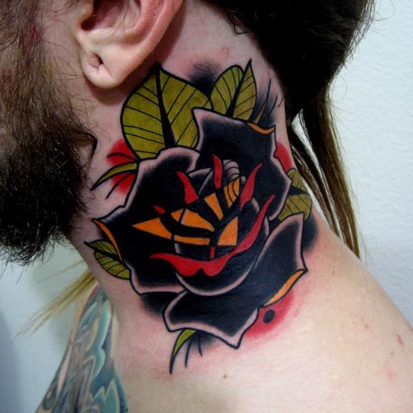 Old School Flower Neck Tattoo by Montalvo Tattoos