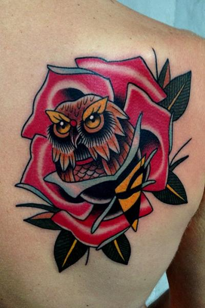 Shoulder Old School Flower Owl Tattoo by Montalvo Tattoos