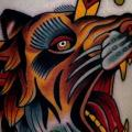Old School Tiger Dagger Thigh tattoo by Montalvo Tattoos