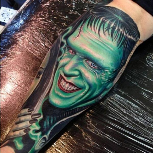 Arm Fantasy Frankenstein Tattoo by Tattoo by Roman