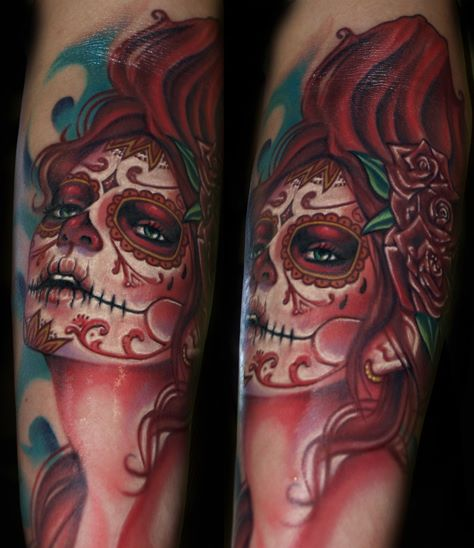 Arm Mexican Skull Tattoo by Tattoo by Roman
