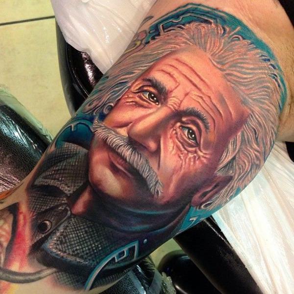 Arm Porträt Einstein Tattoo von Tattoo by Roman