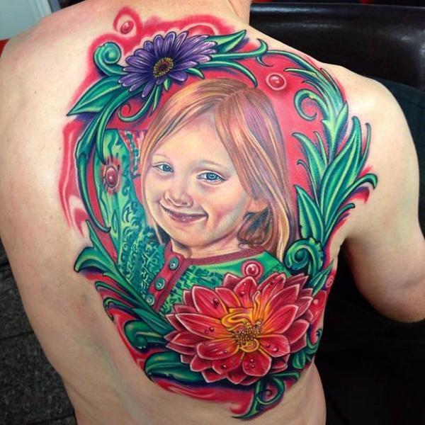 Portrait Realistic Flower Back Children Tattoo by Tattoo by Roman