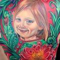 Portrait Realistic Flower Back Children tattoo by Tattoo by Roman