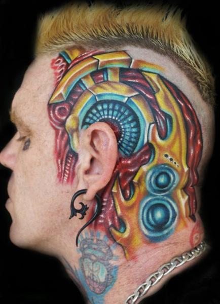 Biomechanical Head Tattoo by Tattoo by Roman