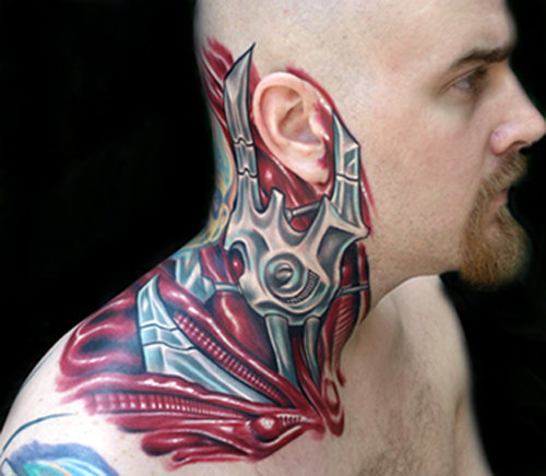 Biomechanical Neck Ear Tattoo by Tattoo by Roman