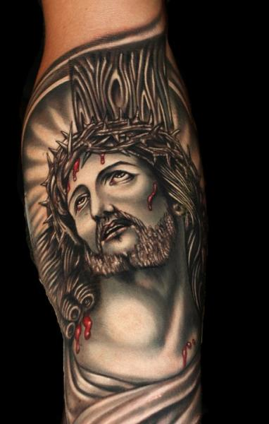 Arm Jesus Religious Tattoo by Tattoo by Roman
