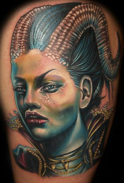 Shoulder Fantasy Portrait Tattoo by Tattoo by Roman