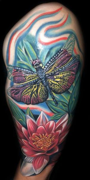 Shoulder Realistic Flower Dragonfly Tattoo by Tattoo by Roman