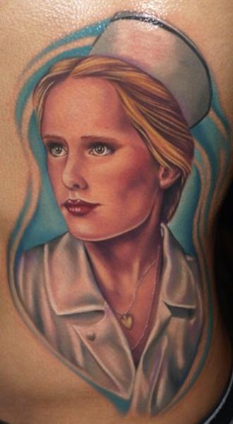 Realistic Side Nurse Tattoo by Tattoo by Roman
