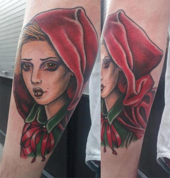 Arm Women Little Red Tattoo by Spilled Ink Tattoo