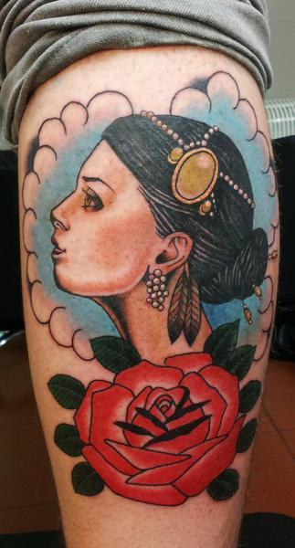 Calf Old School Flower Women Tattoo by Spilled Ink Tattoo