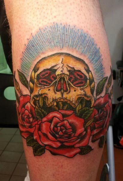 Calf Flower Skull Tattoo by Spilled Ink Tattoo